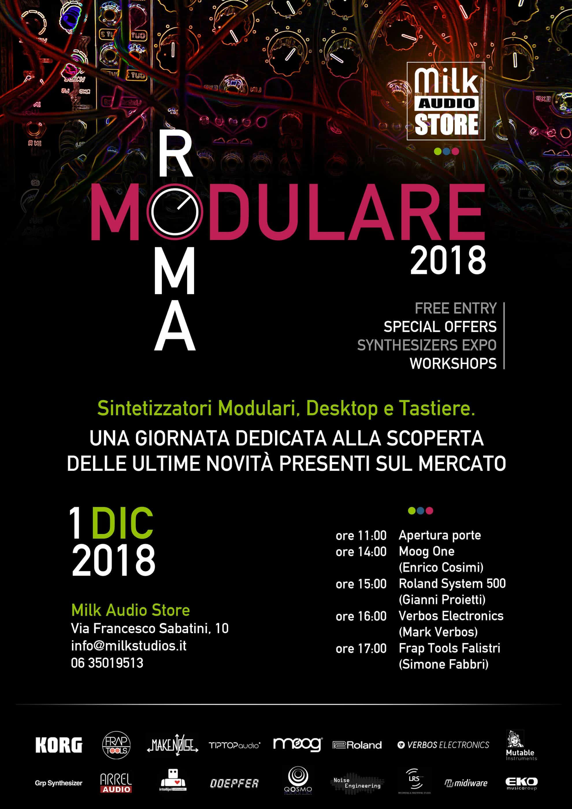 RomaModulare - volantino - programma Workshop Synth Modulari