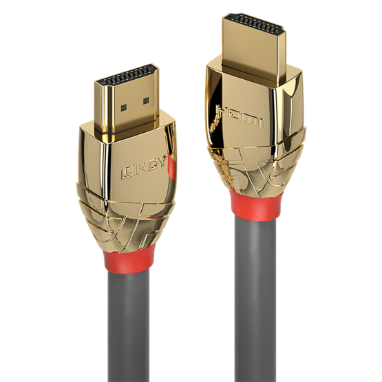 37860 1 555x555 Lindy 0.5m High Speed HDMI Cable Gold Line