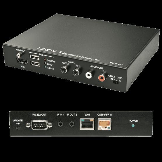 38201 1 555x555 Lindy C6 HDBaseT 2.0 KVM Extender Pro Receiver , 100m