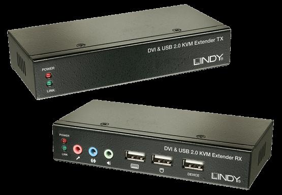 39377 1 555x384 Lindy CAT5 DVI D KVM Extender with USB & Audio 50m