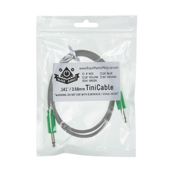 Black Market Modular Buchla tini cable green 60cm detail 555x555 Black Market Modular Buchla 60cm Green Tini Cable