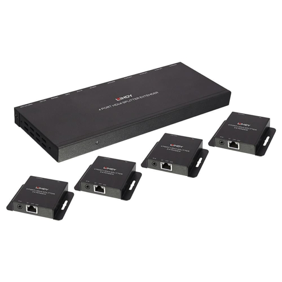38155 1 555x555 Lindy 50m Cat.6 4 Port HDMI & IR Splitter Extender with Loop Out