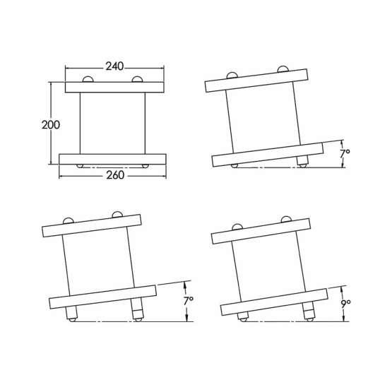 Zaor Miza D Stand MKII technical drawings 555x555 Zaor MIZA D Stand MKII (pair) Black