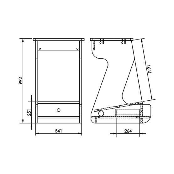 Zaor Miza Rack 16 MKII technical drawings 555x555 Zaor MIZA Rack 16 MKII Black Cherry