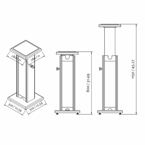 Zaor Monitor Stand technical drawing 555x555 Zaor Monitor Stand Black/Grey