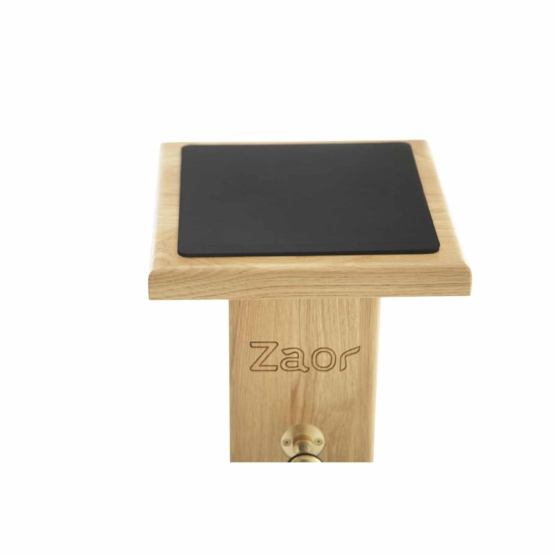 Zaor Monitor Stand Oak Black plate front 555x555 Zaor Monitor Stand Oak/Black