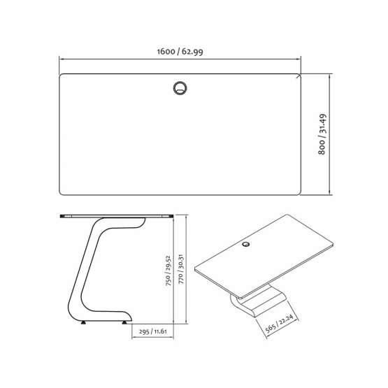 Zaor VELA 1600 Techinical Drawings 555x555 Zaor VELA 1600 White Gloss Oak