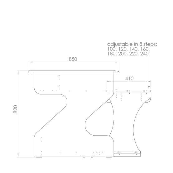 Zaor MIZA M Flex Grey Wenge technical drawing 555x555 Zaor MIZA M Flex – Grey/Wengé
