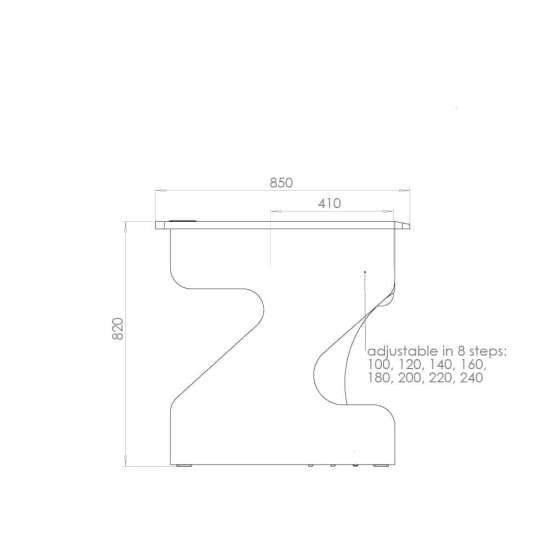 Zaor MIZA Z Flex Grey Wenge technical drawing 555x555 Zaor MIZA Z Flex – Grey/Wengé