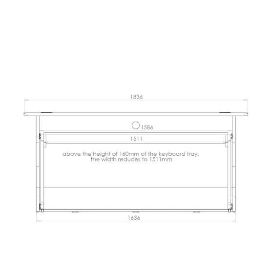 Zaor MIZA Z Flex Grey Wenge technical drawing front 555x555 Zaor MIZA Z Flex – Grey/Wengé